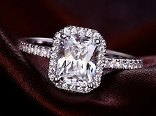 2 1/4 Ct Emerald Cut D Si1 Solitaire Engagement Ring 14K White Gold Enhanced