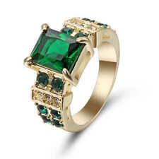 18k yellow gold filled Emerald fashion Wedding Jewelry New rings size 7