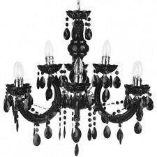 Black 9 Light Marie Therese Crystal Effect Chandelier Home Lighting Litecraft