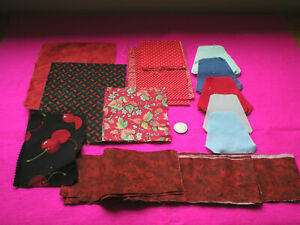 CRAFT PATCHWORK/QUILT PIECES PEAR SHAPES SPARE FABRIC REDS/BLUES JOB LOT