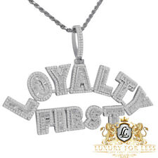 "Custom Piece 14K White Gold Over Sterling Silver ""Loyalty First "" Pendent Charm"