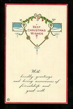 Christmas Greetings Card Vintage postcard 53D Stecher Best Wishes embossed