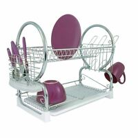 2 Tier Dish Drainer, Chrome/White Plastic Tray, Glass and Utensil Holder