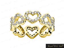 Natural 1.45Ct Round Diamond Heart Eternity Band Ring 18k Yellow Gold F VS Prong