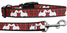 Mirage Red Plaid Scottie Christmas Nylon Dog Collar and Leash Combo
