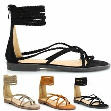 Ladies Women Suede Flat Strappy Open Peep Toe Post Boho Beach Sandals Shoes