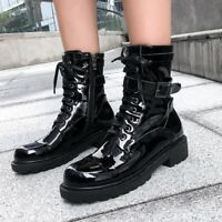 Womens Fashion Punk Lace Up Buckle Strap Ankle Boots Chunky Heel Motorcycle Shoe
