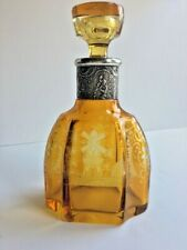 MOSER? ETCHED AMBER CRYSTAL AND STERLING SILVER DECANTER