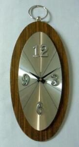 Welby Sears Mid Century Atomic Modern Aluminum Walnut Starburst Wall Clock