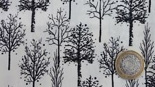 metre cotton poplin with bare winter trees in black on white