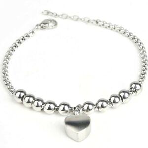 "Cremation Ashes Jewellery Keepsake Bracelet Urn ""Heart Beads"" ENGRAVABLE*"