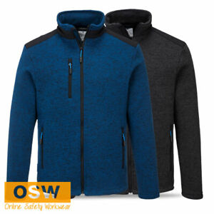 Mens Grey Marle Blue PREMIUM Performance FULL ZIP Knitted Fleece Work Jacket