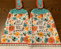 2 Double Sided Crochet Top Floral Spring Bee Kind Bee Sweet Dish Hanging Towels