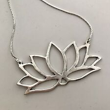 """Silver-Plated Lotus Flower Cut-Out Pendant Long 26"""" Chain Necklace"""