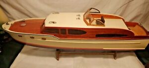 "VERY BEAUTIFUL32"" RADIO CONTROL BOAT MADE FROM MAHOGANY WOOD  NO REMOTE CONTROL"