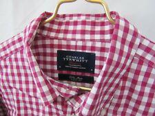 CHARLES TYRWHITT Medium Long Sleeve Button Down Red Plaid Box Shepherds Check
