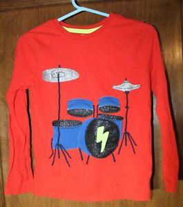 Mini Boden boys long sleeve t-shirt size 7-8 red drums drum set 100% cotton