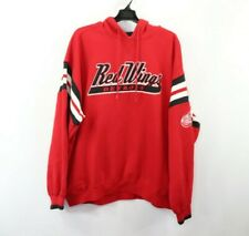 Vintage 90s Lee Sport Mens XL Detroit Red Wings NHL Hockey Spell Out Hoodie Red