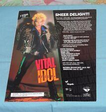 vintage Vestron Video advertisement brochure VITAL BILLY IDOL Glo Friends