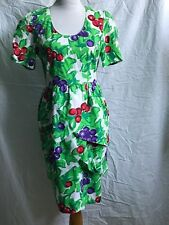 VINTAGE Guy Laroche Boutique PARIS Tulip Skirt Tiered Dress Berry Print 8/10