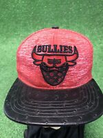 Chicago Street Bullies Snapback Hat Red Black Bandana Bulls Leather Flat Bill