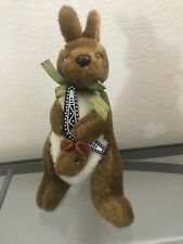"Australia Kangaroo Holding Plastic Boomerang Australian Souvenir Plush Toy 10"""