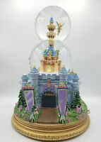 Disney Castle Tinkerbell Animated Musical Lighted Double Bubble Water Snow Globe