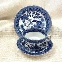 Antik Teetasse Und Untertasse Trio Blau und Weiß Weide Muster Alt Canton 1930s