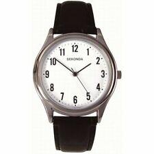 SEKONDA gents watch Mens Black Leather Strap Easy Read 3621 RRP £24.99