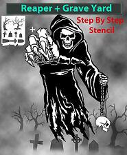Grim Reaper 11 Airbrush Stencil Multi Layer + Graveyard Template Spray Vision