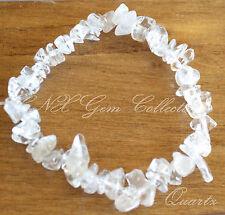Chipstone Gem Crystal Clear Quartz ChipStone Strechy Bracelet 10th Anniversary