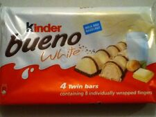 PACK OF 4 KINDER BUENO WHITE CHOCOLATE BARS - 4 x 39gram BARS - SHIP WORLDWIDE