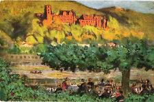 Postcard DE Germany Heidelberg Scheffelhaus-Waldhorn ob Bruck Hotel ca1920s