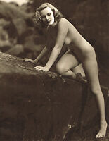Original Vintage Outdoor Female Nude Everard Photo Gravure Print 40s34