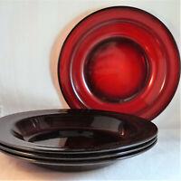 "Classique Ruby Arcoroc 8 1/2"" Rim Soup Bowls (Set of 4) France Red Cereal"