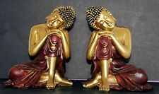 A Pair of Resting Red and Gold  Thai Buddhas - 13 cm high by 11 wide. New in box