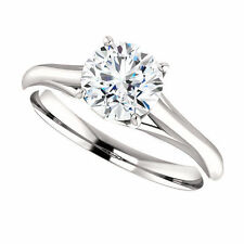 2 Ct Forever Brilliant Moissanite Solitaire Engagement Ring 14k White Gold