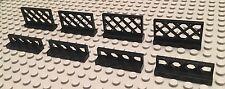Lego Lot Of 8 Black Fence Parts / Railing / Walls / Lattice / Pirate Ship Build