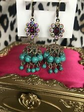 Betsey Johnson Boho Betsey Turquoise Blue Shaky Cluster Pink Crystal AB Earrings