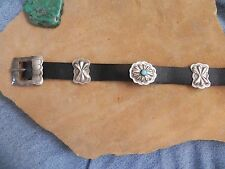 Turquoise & Stamped Sterling Silver Conchos on Black Leather Bracelet Navajo