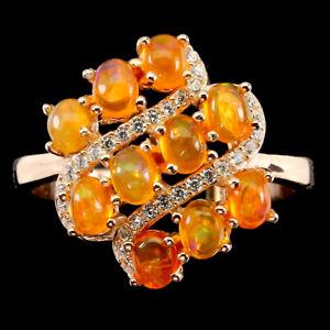 Oval Orange Fire Opal 4x3mm Cz 14K Rose Gold Plate 925 Sterling Silver Ring 8