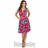 Ladies Sleeveless Floral Pink Wrap Dress Size 8,10,12,14,16,18,20,22 NEW