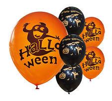 """8 x HALLOWEEN BLACK & ORANGE 12"""" HELIUM QUALITY BALLOONS"""