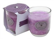 English Lavender Votive Candle - Scented Purple/White Wax Candle In Clear Glass