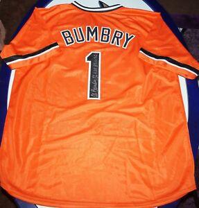 AL BUMBRY SIGNED ORIOLES  CUSTOM JERSEY...W/2 INSC