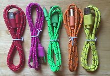 5x Pcs LOT 3ft 1M Braided MicroUSB CHARGERS COLORFUL MIX HTC SAMSUNG ANDROID LG