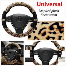 "15"" 38cm Universal Luxury Leopard Print Plush Auto Car Steering Wheel Cover Warm"