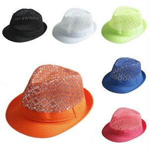 Unisex Trilby Fedora Hat Sun Jazz Panama Neon Lace Hollow Band Summer Beach Cap