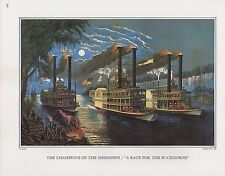 """1972 Vintage Currier & Ives """"MISSISSIPPI STEAMBOAT RACING Color Print Lithograph"""