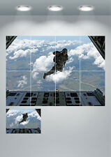 Soldier Paratrooper Sky Dive Large Wall Art Poster Print